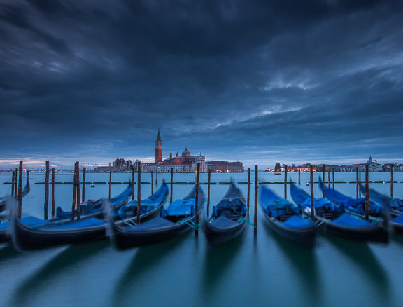Gondolas at Twilight, Venice, Italy, by Andrew Jones